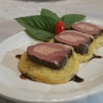 Duck breast stuffed with duck liver canapés