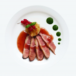 Seared duck breast with raspberry sauce